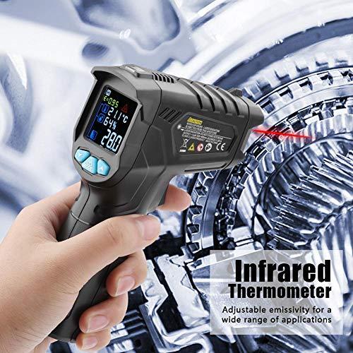 Infrarot-Thermometer-Temperaturpistole Berührungslose Laser-Digital-Thermometer mit Farb-LCD-Bildschirm -58~1472 ℉ (-50~800 ℃) Einstellbarer Emissionsgrad Feuchtigkeits-Alarm Einstellung Max/Hold
