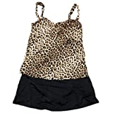 Jantzen Women's Wrap Over Skirted Tankini Swimsuit (Black w/Leopard Print) (18)