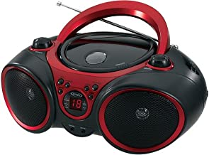 JENSEN CD-490 Portable Stereo CD Player with AM/FM Radio and Aux Line-In, Red and Black