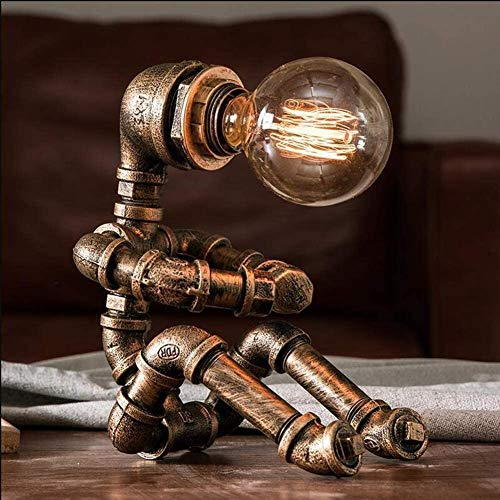 Vintage Table Lamp Retro Industrial Iron Water Pipes Robot Table lamp Steampunk Desktop Light(Not Included Bulb) steampunk buy now online