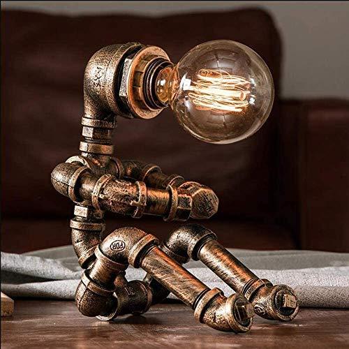 Lámpara de mesa vintage Lámpara de mesa de robot industrial de hierro retro Lámpara de mesa Steampunk (Bombilla no incluida)