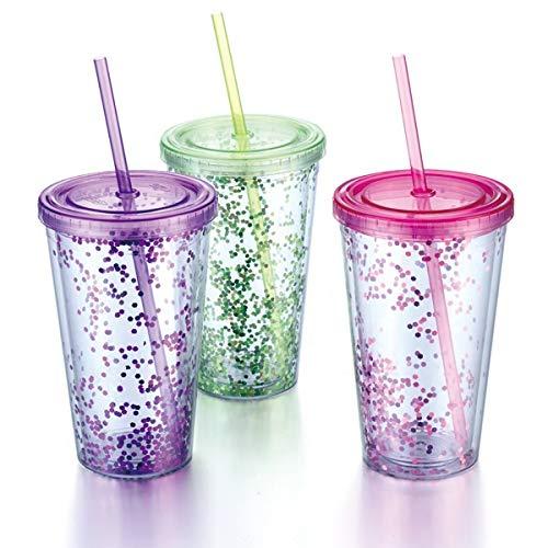 Trinkbecher aus Kunststoff mit Deckel und Strohhalm, Eis- und Kaltgetränke, doppelwandig und glitzernd Fuchsia