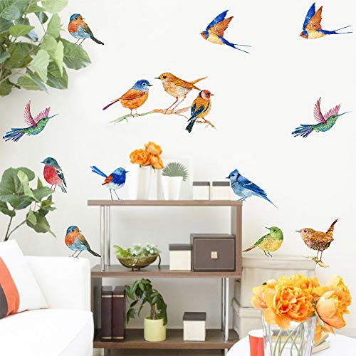 IARTTOP Watercolor Birds Wall Decal, Creative Flying Bird Sticker for Living Room Classroom Nursery Wall Art Decor (23Pcs)