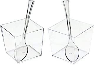 Exquisite Clear Plastic Mini Square Mousse Dessert Cups With Tasting Spoons 48 Ct - 3.6 oz