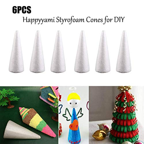 Happyyami 6pcs Craft Foam Cone White Styrofoam Cones for DIY Home Craft Project Christmas Tree Table Centerpiece 24CM