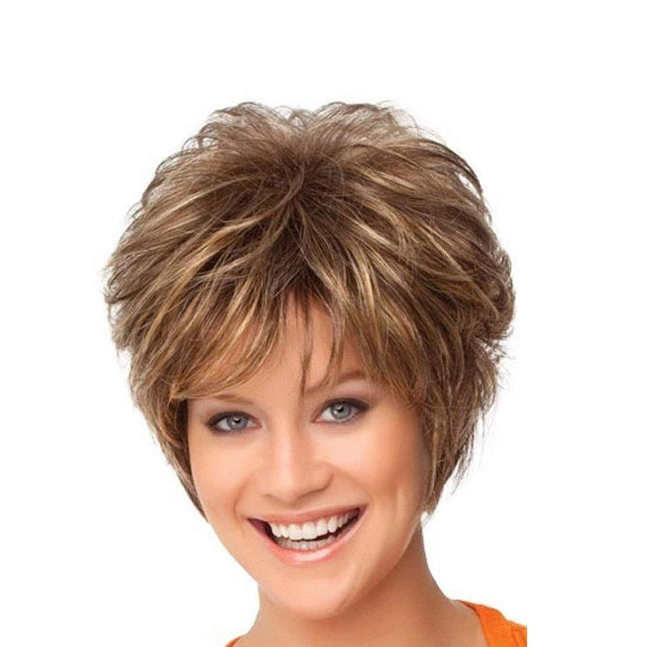 休戦データム破壊的なWASAIO 女性の短い巻き毛のかつらのための女性の髪のかつら (色 : ブラウン)