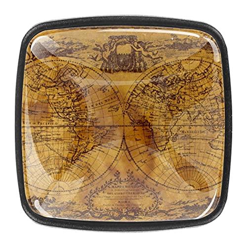 (4 piezas) pomos de cajón para cajones, tiradores de cristal para gabinete con tornillos para armario, hogar, oficina, armario, mapas náuticos, color marrón 35 mm