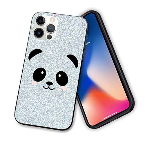 Compatible con iPhone 12 Pro Max, TPU a prueba de golpes, antiarañazos, antideslizante, carcasa rígida delgada, cara de panda con pegatinas para iPhone 12 Pro Max 6.7 pulgadas (blanco y negro, azul)