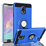 AYMECL Galaxy Note 4 Case,Galaxy Note 4 Case with HD Screen Protector,360 Degree Rotating Ring Holder Dual Layer Full-Body Protective Cases Cover for Galaxy Note 4-ZR Blue