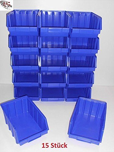 15 Stapelboxen Gr. 4 Stapelkästen Stapelkisten Sichtlagerkästen 340x222x157 mm