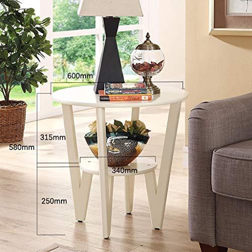 table basse américaine en bois massif simplicité moderne ronde salon canapé simple côté (Couleur : A, taille : 60cm*58cm)