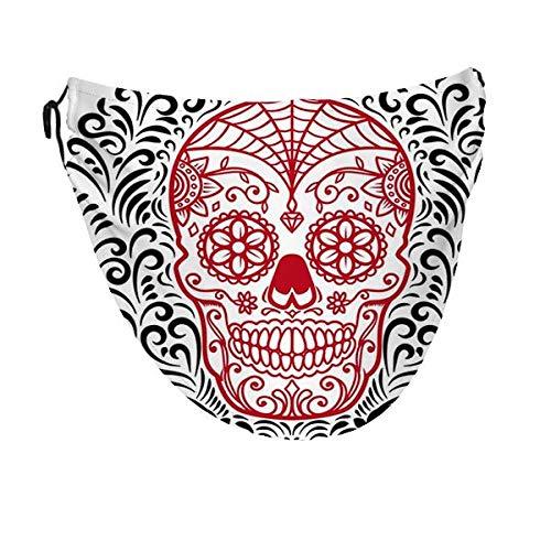 zjipeung Calaveras de azúcar mexicanas con estampado floral circular, cubierta facial y bucal para mujeres y hombres, pañuelos para pasamontañas de polvo