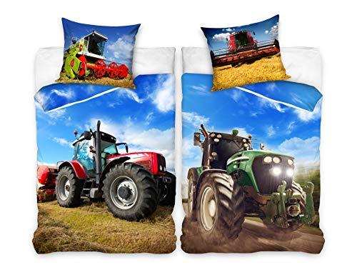 Familando Juego de ropa de cama infantil de 135 x 200 cm y almohada de 80 x 80 cm, 100 % algodón, linón