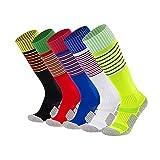 xikun Kids Soccer Socks Boys Girls Stripe Knee High Performance Team Sports Long Tube Football Socks (5 Pack (Red + White + Yellow + Black + Royal Blue), Small)