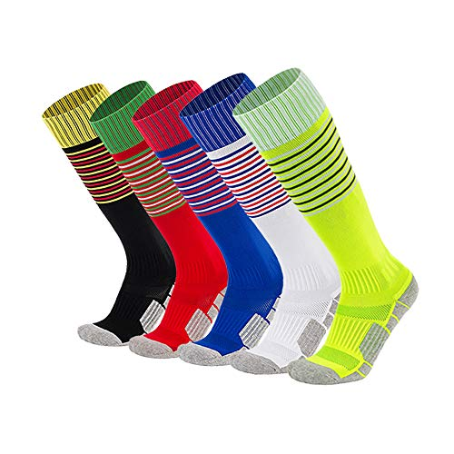 xikun Kids Soccer Socks Boys Girls Stripe Knee High Performance Team Sports Long Tube Football Socks (5 Pack (Red + White + Yellow + Black + Royal Blue), x-Small)