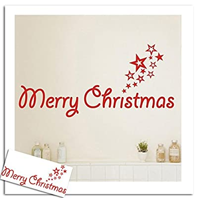 IEason Christmas Wall Stickers, Merry Christmas Wall Stickers Art Removable Home Vinyl Window Stickers (A)