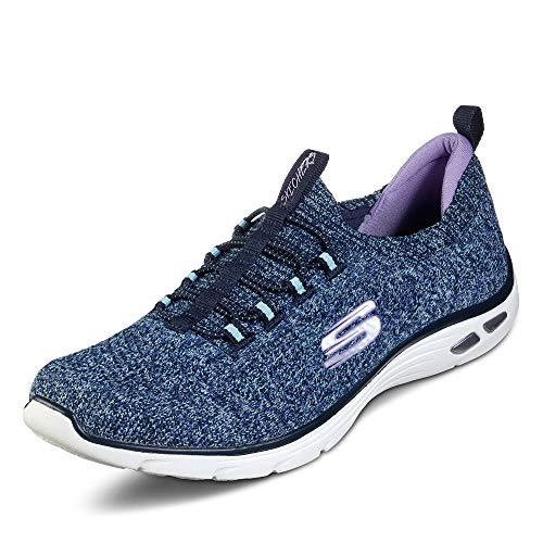 Skechers Damen Empire D'lux - Sharp Witted Sneaker, Blau (Navy Knit Mesh/Aqua & Purple Trim Nvaq), 39 EU