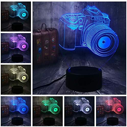 3D Optical Illusion Night Light Camera 7 Colourren Photograph 7 Colors Night Light for Kids Boys and Girls as Perfect Gifts on Birthdays or Holidays