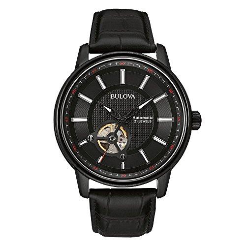 Bulova Automatic orologio con quadrante analogico nero e cinturino in pelle nero 98A139