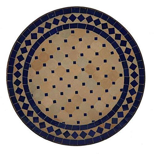 Casa Moro Mediterraner Gartentisch marokkanischer Mosaiktisch Ø 45 cm rund blau terrakotta mit Gestell H 55 cm Kunsthandwerk aus Marrakesch Handmade Bistrotisch Mosaik-Kunst Balkontisch | MT2994