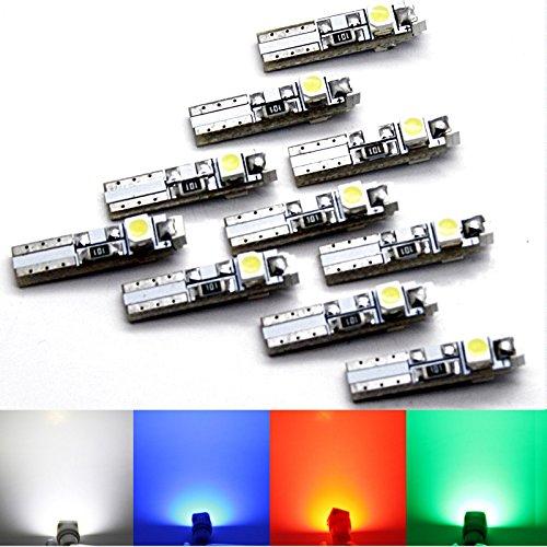 Lot de 10 - T5 LED SMD bob-tach obeleu clignotants – 3 SMD – blanc rouge bleu vert - W1.2 W w2.3 W - 3 x 3528 SMD Intérieur de Éclairage d'intérieur tachymétrique Cockpit.