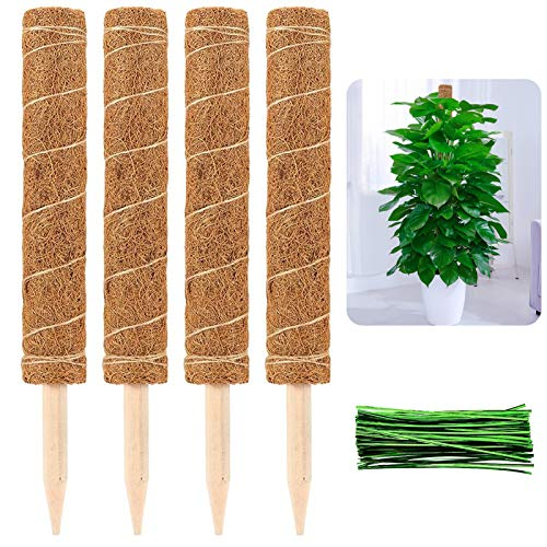 Alphatool Full Length 39.5 Inch Coir Totem Pole- 4 Pcs 16.5 Inches Coir Moss Totem Pole Coir Moss Stick for Creepers Plant Support Extension, Climbing Indoor Plants