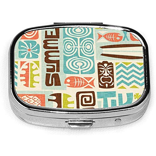 Custom Silver Stylish,Exotic Tiki Slim Design Pill Box Holder,Rectangle Medicine Vitamin Organizer Pill case
