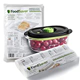 FoodSaver Juego compuesto por 2 rollos de 28 cm x 5,5 m, 48 bolsas de 20 x 29 cm, termosellables, sin BPA, 1 recipiente hermético de 700 ml con función marinado, para máquina de vacío