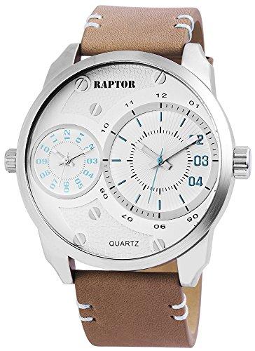 Raptor Herren - Uhr Chronograph Quarzwerk Oberseite Echtlederarmband RA20192-004