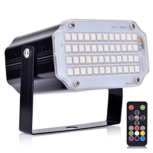 Stroboskop Licht, BASEIN 48 LED Disco Lichteffekt Party licht mit Fernbedienung, Sprachaktiviertes RGB LED Strobe Lampe für Halloween Christmas Disco DJ Party