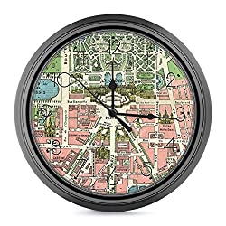 9.6 Inch Wall Clock,Vintage French Versailles Illustration Map Silent Non-Ticking Battery Operated Wall Clock Modern Decor Clock for Living Room,Kitchen,Dining Room,Mantel