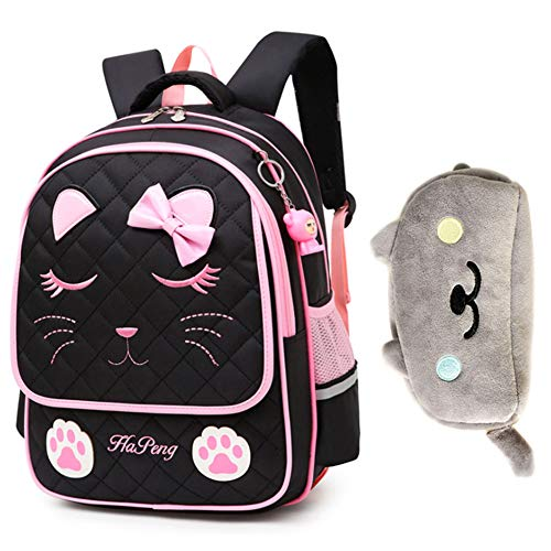 Uniuooi Cute Cat School Book Bag Backpack with Plush Pencil Case for Girls 7-12 Years Old - Nylon Bow Kids Backpack Princess Satchel Waterproof Rucksack (Black)
