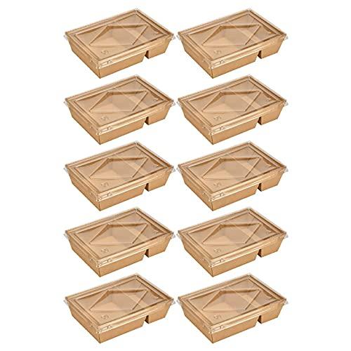 Caja Alimentos Take Away, Cajas Comida Rápida a Prueba Fugas, Caja Rectangular Cartón, Caja De Cartón Compostables con Tapa Transparente para Envasar Comida Caliente, Ensaladas (100 Piezas),1#