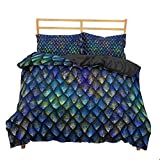 Blue Dragon Scales Duvet Cover Set Rainbow Luxury Bedding Set King Queen Comforter Bed Linen Bedclothes Smooth Soft Rich Color Pattern Beautiful Comfortable ,Us Queen 228X228Cm
