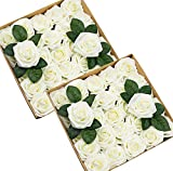 Foraineam 50pcs Artificial Roses Real Looking Foam Fake Rose Flowers with Stem & Leaves for DIY Wedding Bouquets Centerpieces Party Home Decorations (Ivory)