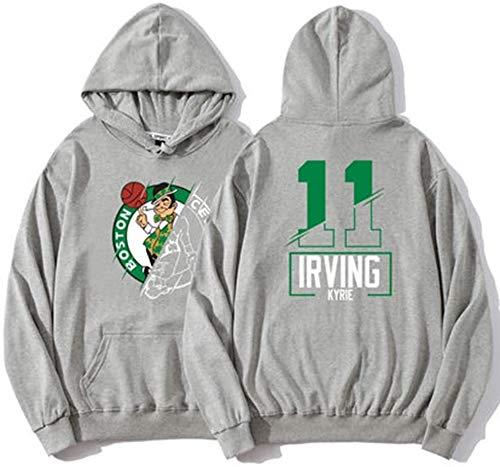 Jersey de Baloncesto de otoño e Invierno Boston Celtics Irving # 11 Otoño e Invierno Suéter con Capucha de Manga Larga Chaqueta de Terciopelo Fino Ropa Deportiva Gris (Size : Large)