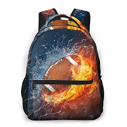 Unisex Daypack Football In Fire And Water 3d All-Over Print Lightweight School Bag For Kid