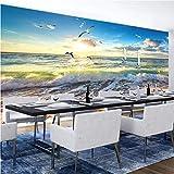 Gtfzjb Benutzerdefinierte Fototapete 3D stereoskopisch geprägte Strand Meer Welle großes Wandbild Wohnzimmer Restaurant Cafe Poster Dekor Tapete-120X100CM