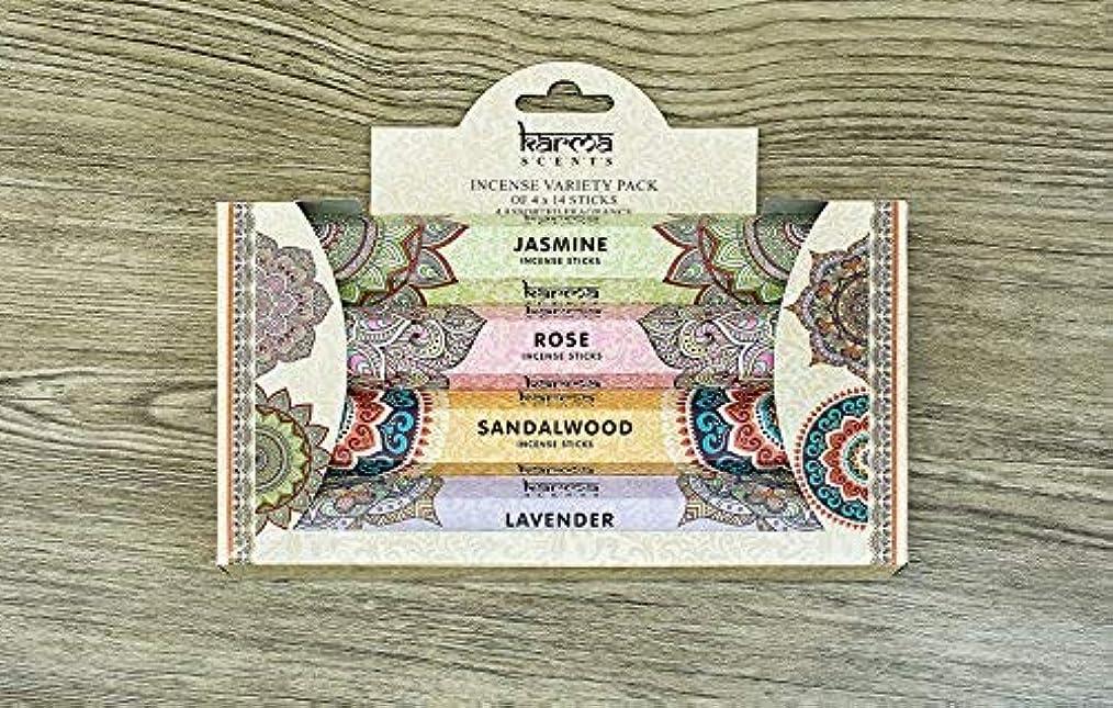 メンバーアコードパーティションPremium Incense Sticks Sandalwood, Jasmine, Rose and Lavender Variety 56 Sticks Gift Pack