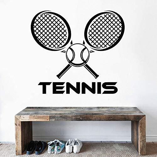 JXMN Raqueta de Tenis Cruzada con Pelota, Vinilo artístico, Adhesivo para Pared, calcomanía para Deportes de Tenis, hogar y cancha de Tenis, Art Deco 102x90cm