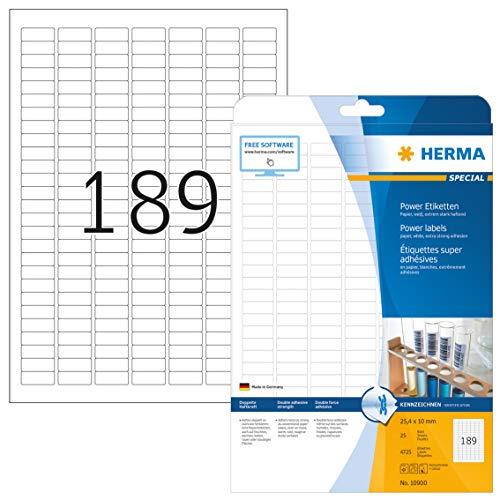 HERMA Etichette per Marcatura, 25,4 x 10 mm, Etichette Adesive A4 per Stampante, 189 Etichette per Foglio, Bianco