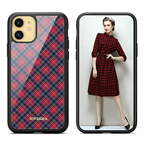 JOYSIDEA Plaid iPhone 11 Case, Ultra Slim Thin Durable Hybrid Phone Case Cover for iPhone 11 6.1 inch, Red
