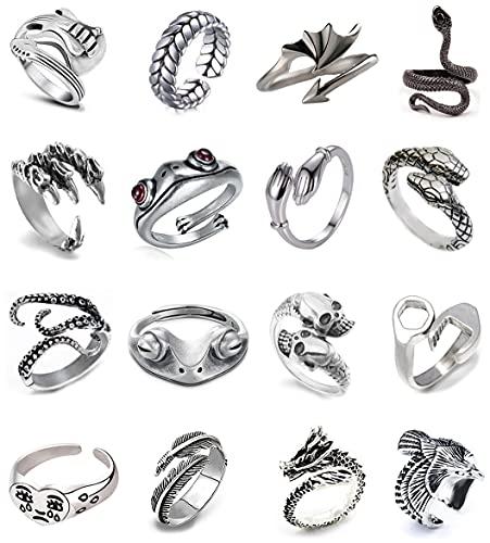 Pybider 16 pezzi anelli aperti vintage anelli regolabili Hippie punk gotico Boho Set di anelli impilabili con teschio rana serpente per donna Uomo Bambina