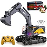 Remote Control Excavator Toy 1/14 Scale RC Excavator, 22 Channel Upgrade Full Functional Construction Vehicles Rechargeable RC Truck with Metal Shovel and Lights Sounds