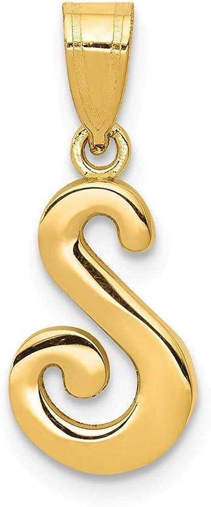 Solid 14k Yellow Gold S Script Initial Letter Pendant Alphabet Charm - 18mm x 12mm