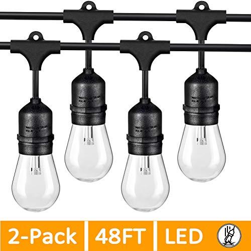 2-Pack 48FT LED Outdoor String Lights for Patio, Commercial Grade LED Edison Bulb String Lights Waterproof, Dimmable LED Cafe Lights Bistro Lights Shatterproof for Pergola Deck Backyard(Total 96FT)