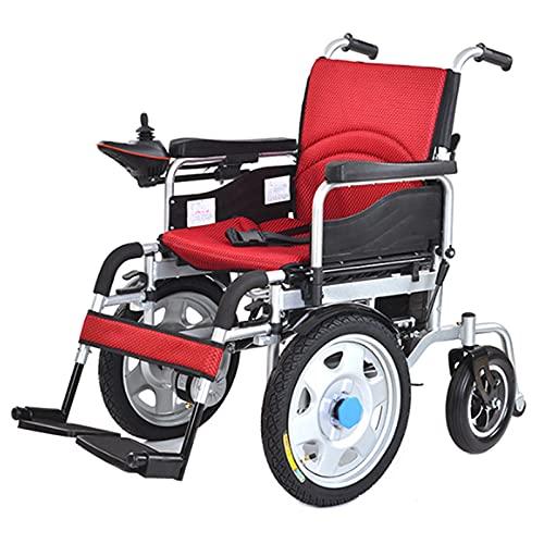 LFLLFLLFL Sillas De Ruedas Eléctricas, Sillas De Ruedas para Scooter de Silla de Ruedas eléctrica para Ancianos con discapacidades Linterna de Doble Uso de la Unidad Frontal Inteligente (Color : Red)