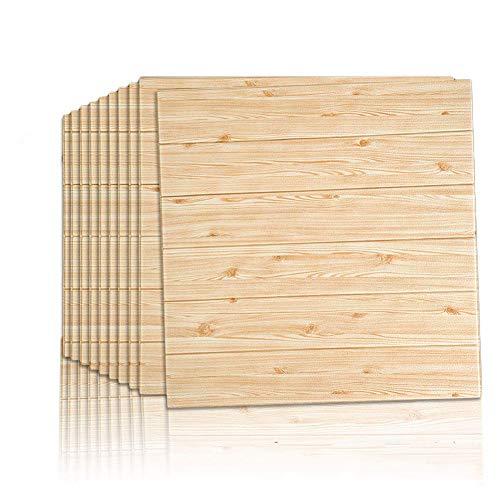 uyoyous Papel pintado con vetas de madera en 3D, autoadhesivo, 70 x 70 cm, diseño de ladrillos modernos, aspecto de piedra, papel de pared, insonorizado, para salón, dormitorio, 10 unidades