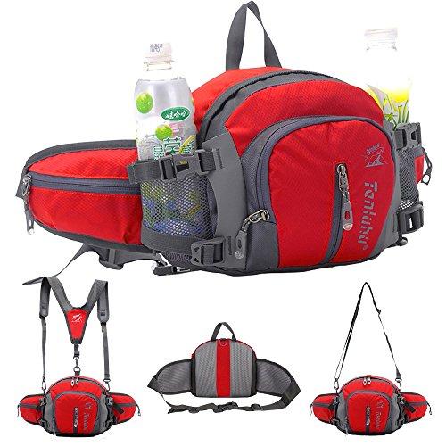 SINOKAL Style militaire multifonctionnel sac en toile taille Pack eau résistance banane avec porte-bouteille d'eau pour l'exécution de randonnée pédestre vélo escalade voyage Camping (Rouge, Taille libre)
