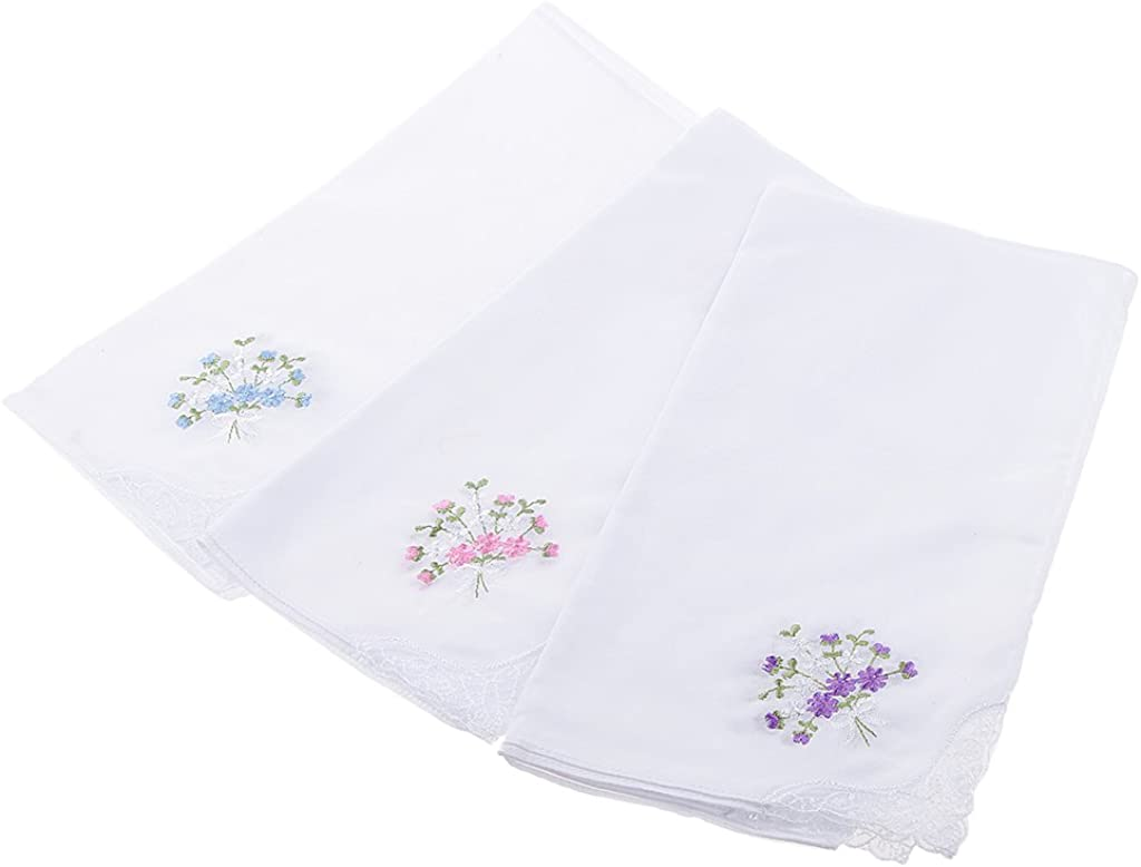 MagiDeal Pack of 12 Vintage Women's Flower Embroidery 100% Cotton Handkerchiefs Party White Hanky